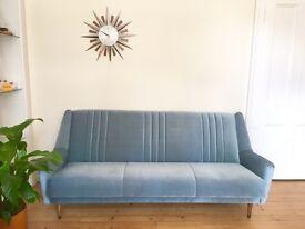 Vintage Blue Sofa Bed 1950's 3 Seater Sofa Retro Mid Century