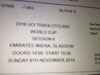 UCI track World Cup cycling premium seats @ finish line