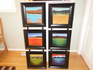 2 Sets of 3 Abstract Landscape Paintings