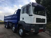 2010 60 MAN TG-A 35.400 8X4 Hub reduction steel tipper, sheet, weigher, manual