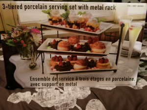 3 tiered porcelain serving set with metal rack