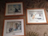 Set of 3 hockey themed framed pictures