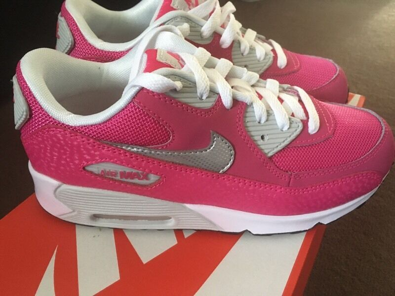 jdrbb Girls pink & metallic silver Nike air max 90 new in the box size
