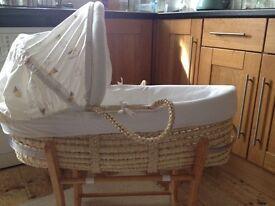 Mothercare Hedgehog Moses Basket & Stand & Sheets