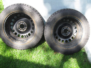 2 CTC Goodyear Nordic/Winter Tires on Rims -2 Years Old-Superb