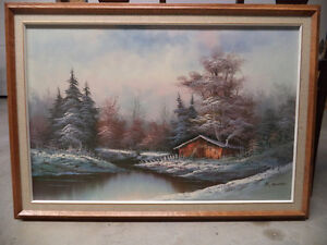 Canvas painting in wooden frame