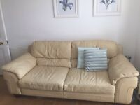 3 seater DFS champagne coloured leather sofa