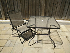 Patio dining table, Chairs, Foldable table