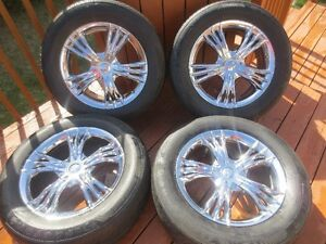 4X CHROME MAGS + TIRES 245/60/18  FORD EDGE  2010