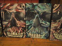 Abstract Skull Canvas Paintings !