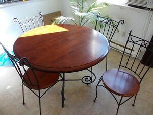 Wrought Iron and Wood dining table and chairs