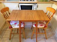 Retro Vintage Formica Table Desk Drop Leaf Wood Effect 60x90cm