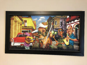 Framed print picture band playing in the street