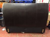 Head board brown faux leather double bed