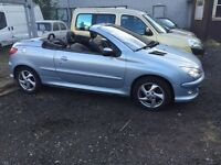 03 plate Peugeot 206cc 1.6 petrol silver with full black leather **motd till October **