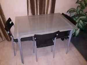 Small Glass Kitchen Table with 3 Chairs