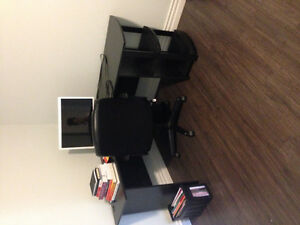 Corner office desk & leather rolling chair