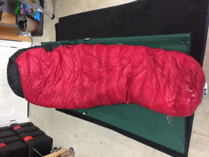 Sleeping bags (down and synthetic mummy style)
