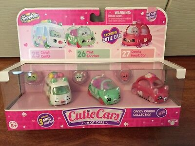 Shopkins Cutie Cars Candy Combo Collection Exclusive Car   3 Mini Shopkins New