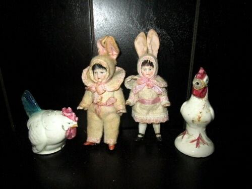 Antique bisque pair  Easter Rabbit -Bunny dolls ,with chicks -  Germany