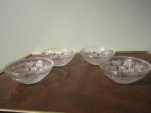 Set of 4 Small Crystal Fruit Bowls