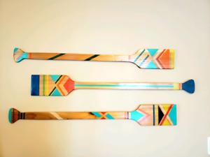 Wooden canoe paddle decor