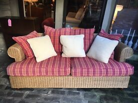 Rattan 3 Seater Conservatory Sofa with Tartan Cushions - CAN DELIVER