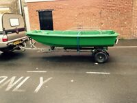 Dell quey dory 11 foot fishing boat with 28hp Yamaha outboard