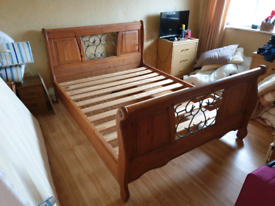 Real African Wood Sleigh Bed Frame - King Size