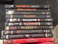 Entire DVD collection of the Halloween movie series