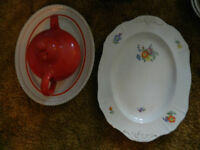 Two Serving Platters and Red Tea Pot, priced in ad.