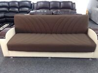 Hudson sofa bed in brown and beige