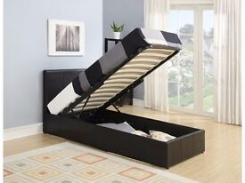 DOUBLE LEATHER BED LEATHER STORAGE BED WITH SEMI ORTHOPAEDIC MATTRESS BLACK BROWN COLOUR