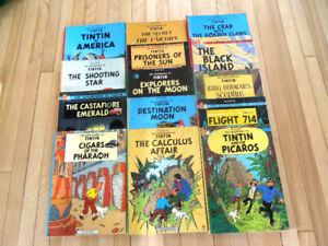 14 albums bd de Tintin en anglais de Tintin in English
