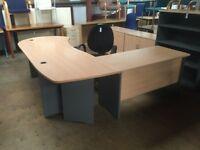 Oak desk with workstation and desk high pedestal drawers.