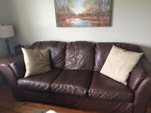 Brown leather sofa and love seat for sale!