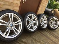 "Genuine BMW 3 4 Series 18"" 441 M Sport Alloy Wheels & Runflat tyres F30 F31 F32 F33 E46 E90 E92 Z4"