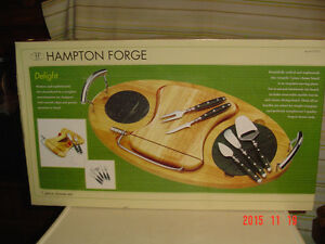 "BRAND NEW ""HAMPTON FORGE"" 7 PIECE WOODEN CHEESE SERVING SET"