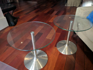 2 modern Glass top end or side tables, $70