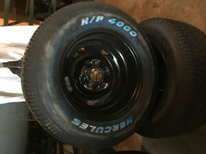 Rally style rims with tires