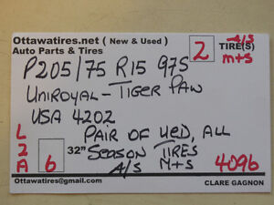 2-P205/75R15 97S A/S Uniroyal Tiger Paw ask about #4096   L2A