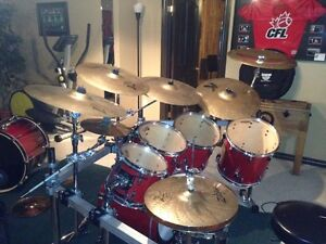 Pearl custom sessions seven piece professional drum set