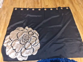 Next black and gold ring top lined curtains 66w x 54d