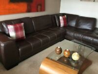Quality Large Italian Leather Corner Sofa