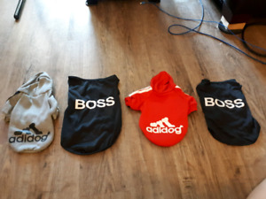 4 extra small doggy shirts, brand new, up to about 10lbs