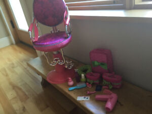 Our Generation salon chair for American Girl and Maplelea Doll