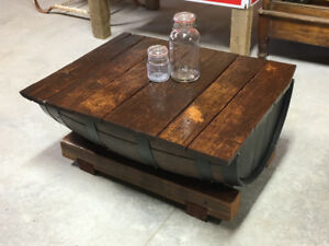 Antique Whiskey Barrel Coffee Table