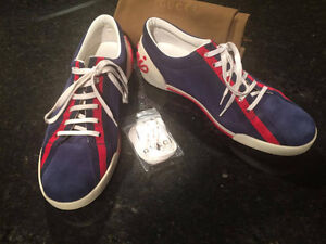Gucci Blue Suede Script Logo Lace Up Low Sneakers Shoes size 8.5