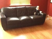 four seater, dark brown leather sofa
