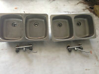 SINKS – 2 DOUBLE SINKS WITH FAUCETS